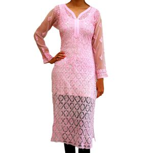 Georgette-Kurti-With-Superfine-Lucknow-Chikankari
